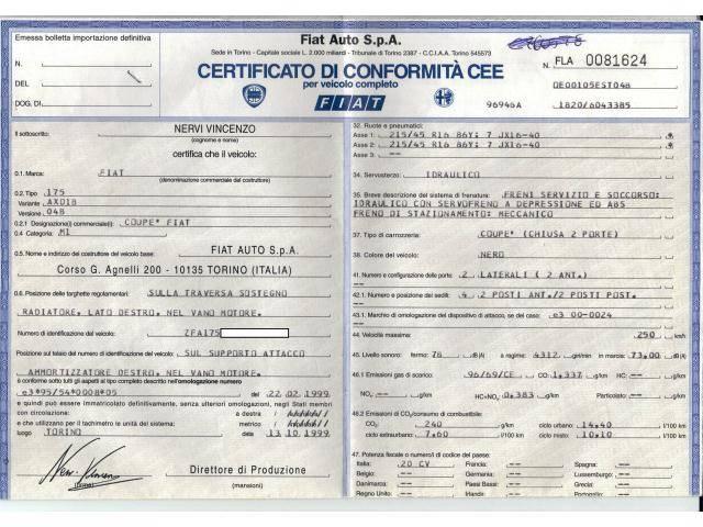Immatricolazione del veicolo: il certificato di conformità