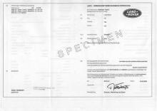 Certificato di conformità Land Rover