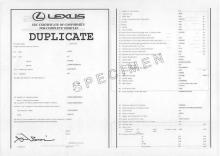 Certificato di conformità Lexus